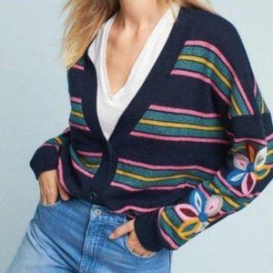 Anthropologie Moth Striped Floral Sweater